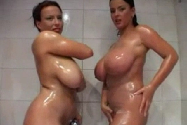 Two Lesbians Are Playing With Huge Tits in the Shower