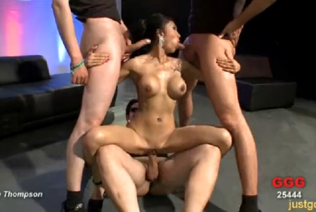 Busty Asian Slut Fucks With a Lot of Horny Guys in Gang Bang