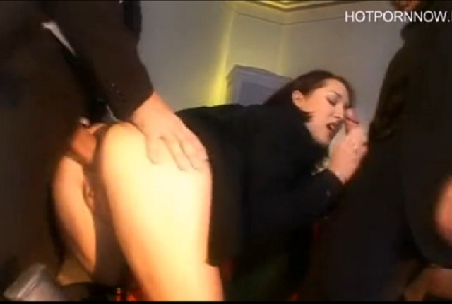 Busty girl gets anal fuck in threesome at college