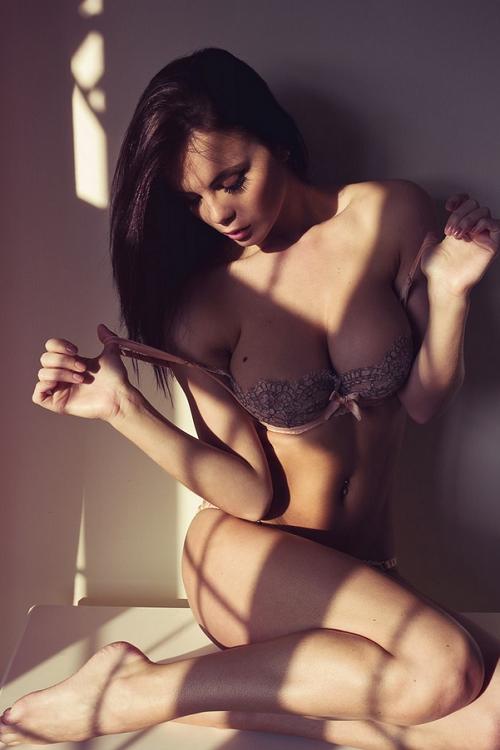 Sexy dark hair beauty in underwear
