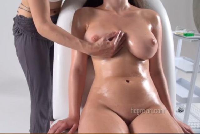 Busty lesbian girl has massage her big tits