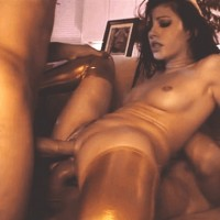 Hot Brunette With Golden Boots Gets Double Penetration