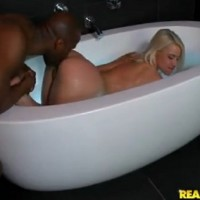 Annika Albrite shows her amazing ass and gets interracial fuck in the bathtub