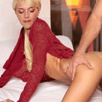 Cute skinny blonde Emma Mae has a romantic sex