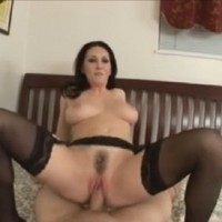 Very hot MILF in black stockings has POV sex