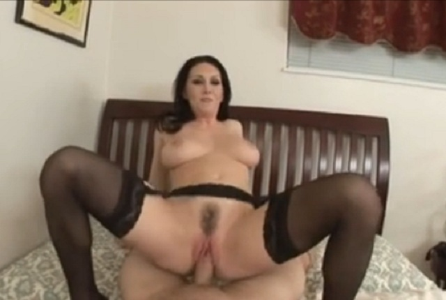 Very hot MILF in black stockings has POV sex