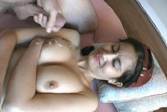Cute amateur brunette gets cumshot on her face and big tits