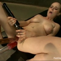 Blonde Slut Is Double Penetrated With a Sex Machine