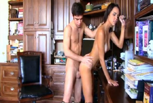 Cute teen brunette Dillion Harper rides her boyfriend cock