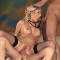 Hot busty blonde Stella Delcroix gets double penetration