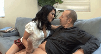 Schoolgirl takes thick old cock
