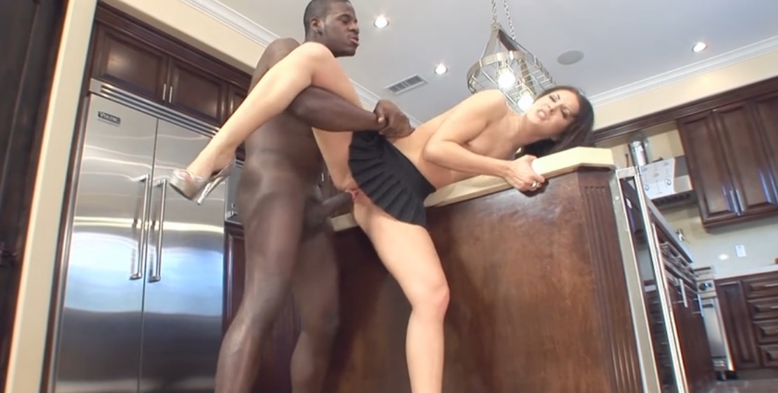 Nasty brunette girl Chelsie Rae loves black monster cock