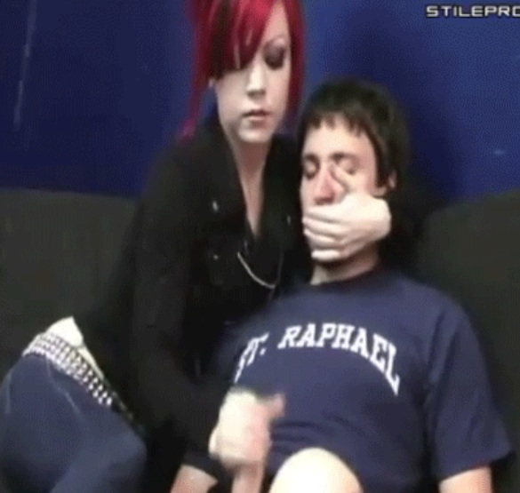 Handjob big cumshot redhead girl forcing guy to shut up