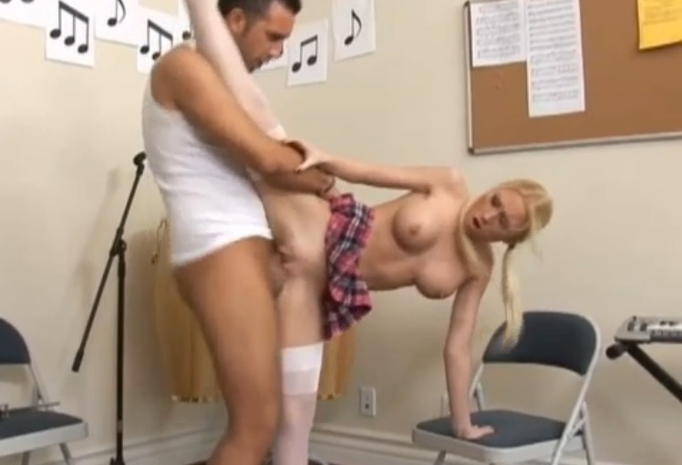 Madison Scott blonde student babe gets fuck in weird position
