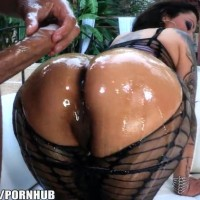 Extremely big oiled up booty Nikita Denise gets rough fucked