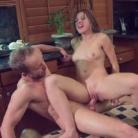 Old vs young Callie Calypso sex after breakfast