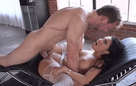 Asa Akira in white fishnet stockings anal