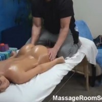 Amateur blonde oiled up and fucked in massage room