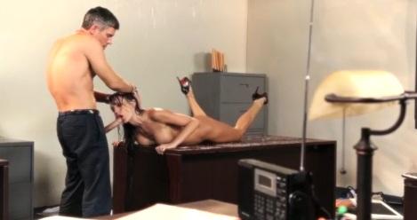 Amazing throat fucking for brunette secretary