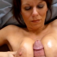 Busty amateur brunette tittyfuck and tittycumshot POV