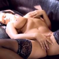 Carmen Croft in sexy black lingerie masturbates