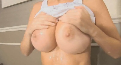 Busty latina with juicy ass fucked well in bathroom