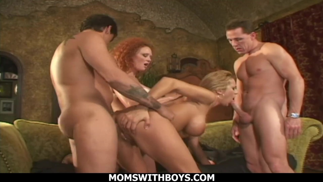 Sensational Anal : MomsWithBoys – MILFs Audrey Hollander and Trina Michaels Foursome Anal Sex