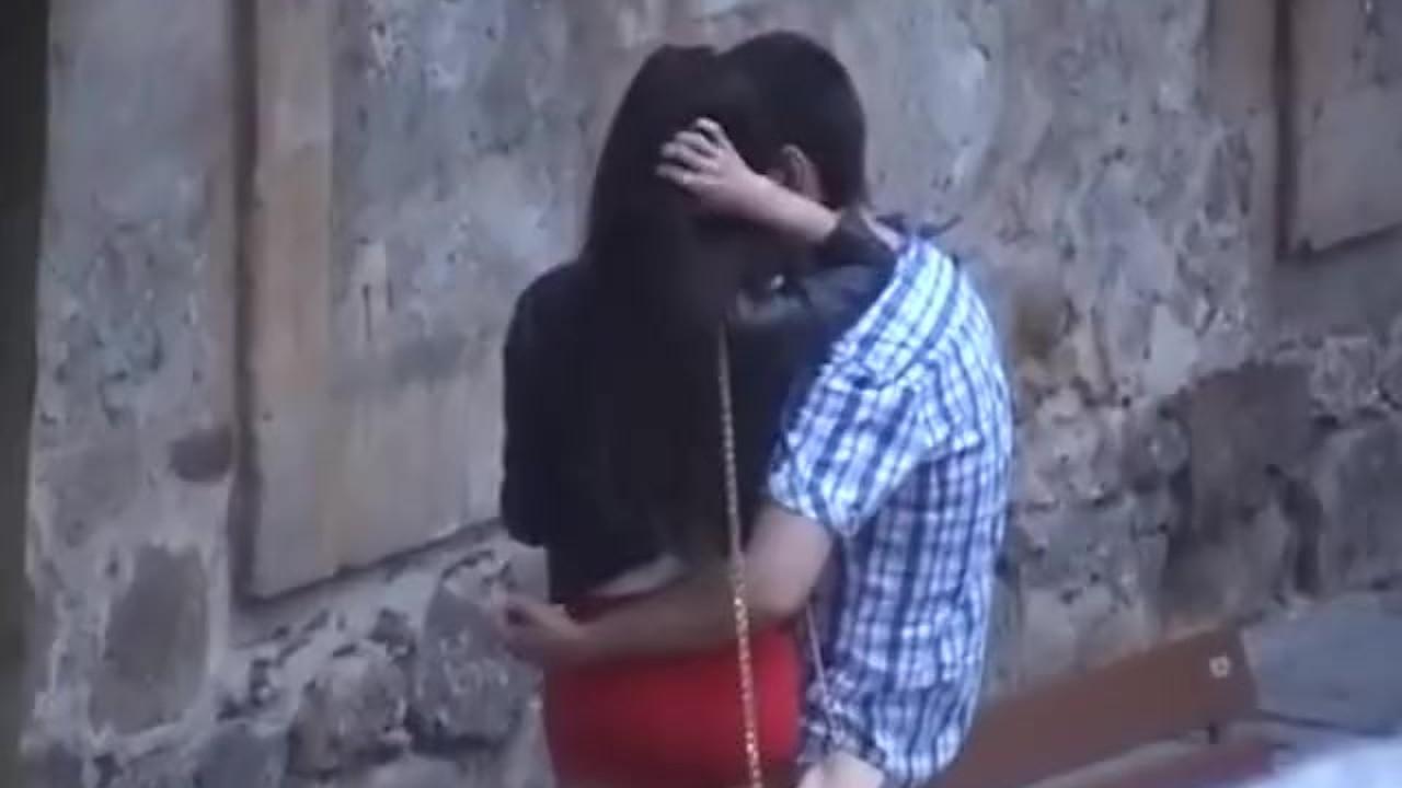 Astonishing Babe fucking : Spanish couple kissing on the street