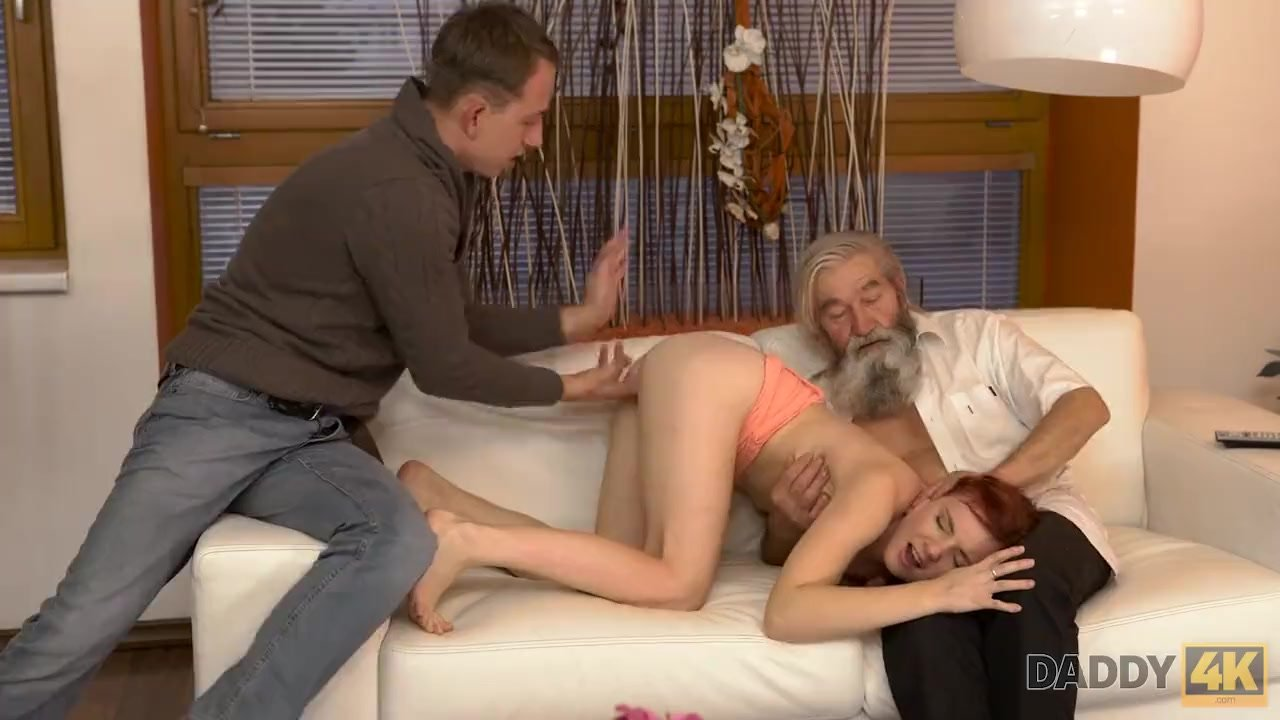 Magnificent Babe fuck : DADDY4K. Chick's shaved pussy is fingered by old man and son in turn